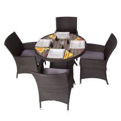 Fazzio Four Seater Rattan Dining Set with Plaswood Top