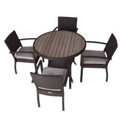 Juliana Rattan Four Seater Dining Set with Plaswood Top
