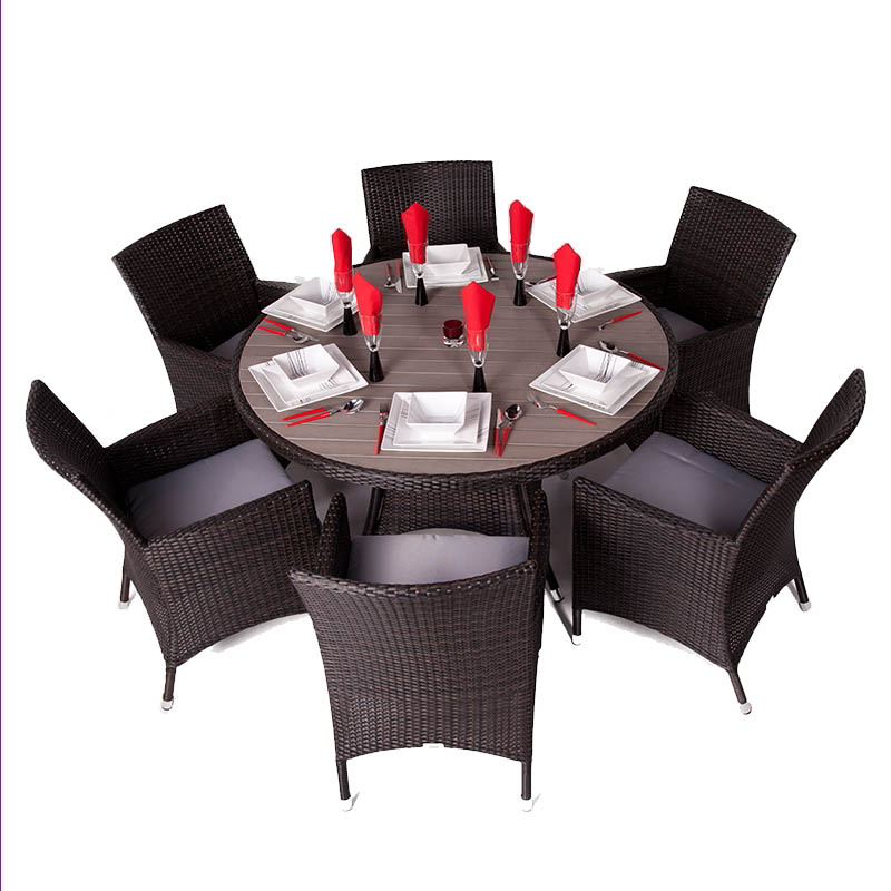 Theodora Seat Seater Rattan Dining Set with Plaswood Top