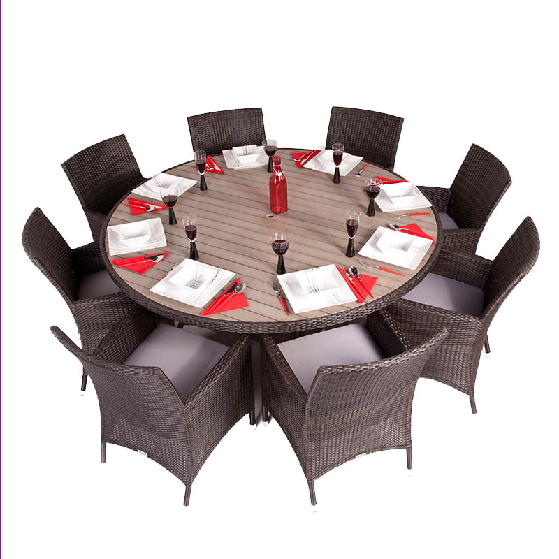 Olympia Eight Seater Rattan Dining Set with Plaswood Top