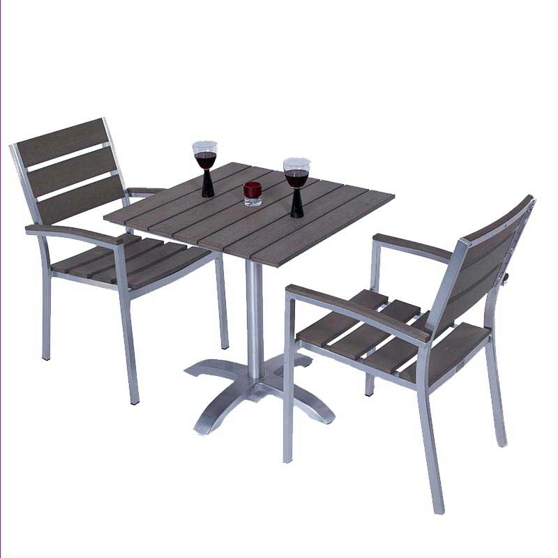 Sofia Brushed Stainless + Plaswood Square Two Seater Bistro Set