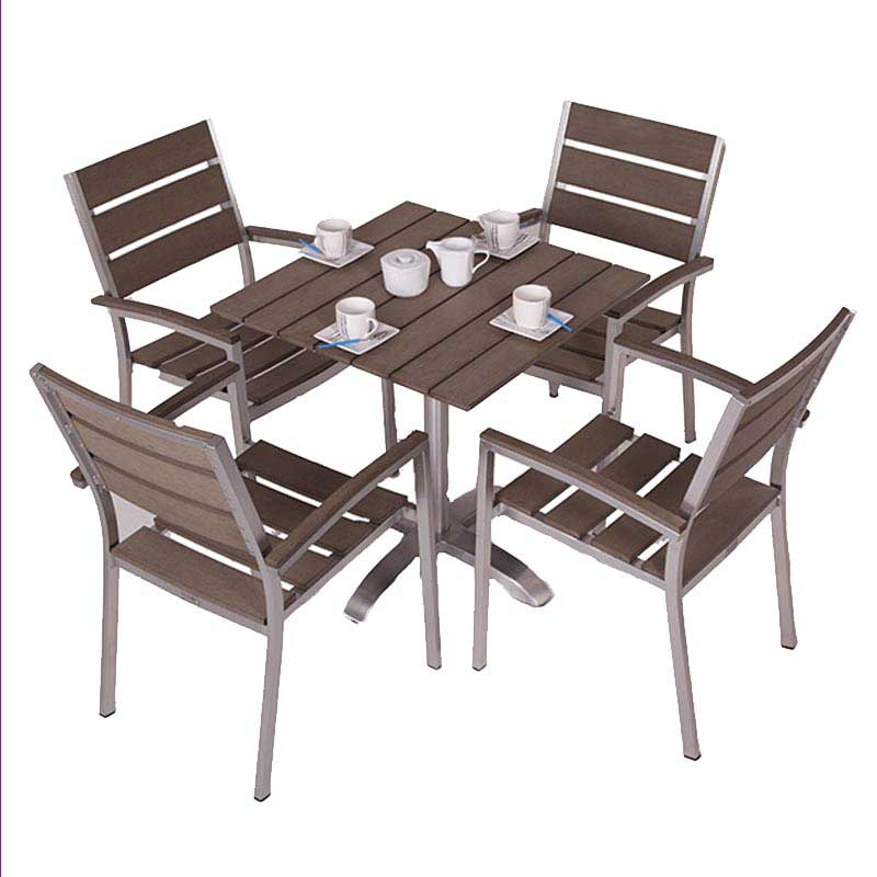 Monaco Brushed Stainless + Plaswood Four Seater Dining Set W70cm