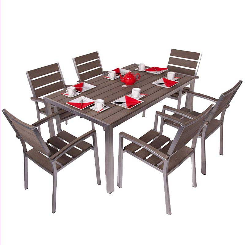 Valencia Brushed Stainless + Plaswood Six Seater Dining Set W70cm