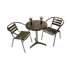 Aluminium & Ash Round Two Seater Bistro Set D60cm