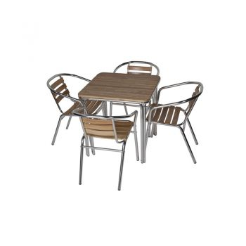 Aluminium & Ash Four Seater Square Dining Set 70cm