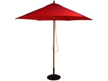 2.5m Wooden Parasol with Pulley in Red