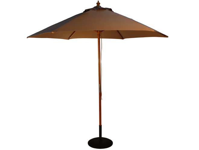 2.5m Wooden Parasol with Pulley in Taupe