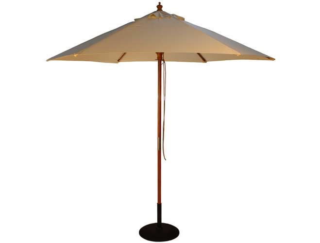 2.5m Wooden Parasol with Pulley in Natural Tan