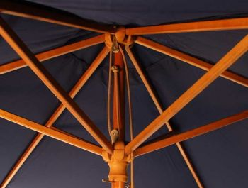2.5m Wooden Parasol with Pulley in Blue