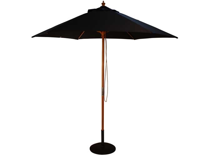 2.5m Wooden Parasol with Pulley in Black