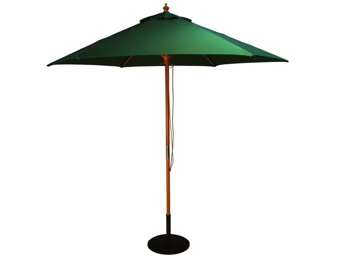 2.5m Wooden Parasol with Pulley in Green
