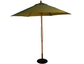 2.5m Wooden Parasol with Pulley in Light Green