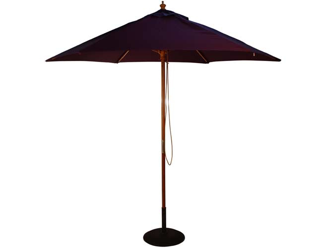 2.5m Wooden Parasol with Pulley in Purple