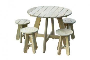 Scotts Pine Picnic Table with Stools D88.5cm