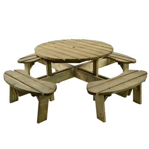 Aberdeen Round Pine Picnic Table 215cm (7ft 1in)
