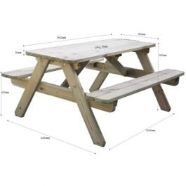 Rectangular Pine Six Seat Picnic Table
