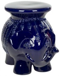 43cm Ceramic Elephant Stool in Navy