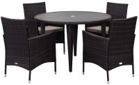 Malaga Outdoor 5-Piece Living Set - Ebony & Sand