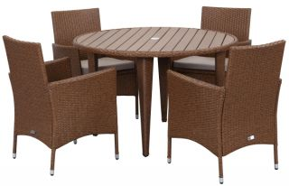 Malaga Outdoor 5-Piece Living Set - Toasted Almond & Sand