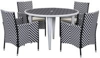 Malaga Outdoor 5-Piece Living Set - Black & White