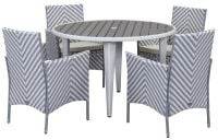 Malaga Outdoor 5-Piece Living Set - Grey & White