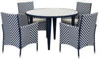 Malaga Outdoor 5-Piece Living Set - Navy & White