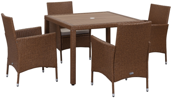 Amalfi Outdoor 5-Piece Living Set - Toasted Almond & Sand