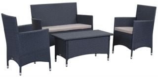 Venice Outdoor 4-Piece Dining Set - Titanium & Sand