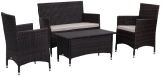 Venice Outdoor 4-Piece Dining Set - Ebony & Sand