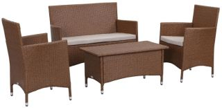Venice Outdoor 4-Piece Dining Set - Toasted Almond & Sand