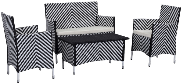 Venice Outdoor 4-Piece Dining Set - Black & White