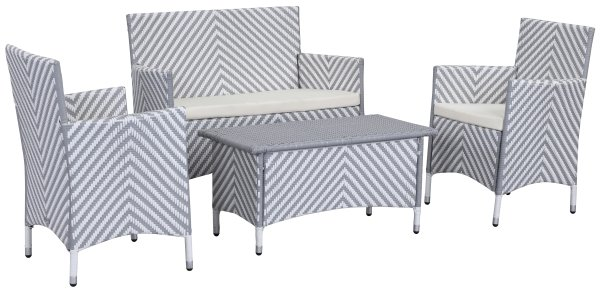 Venice Outdoor 4-Piece Dining Set - Grey & White