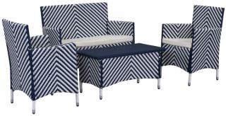 Venice Outdoor 4-Piece Dining Set - Navy & White