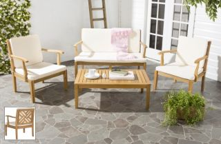 Mendoza Outdoor 4-Piece Living Set - Teak Brown