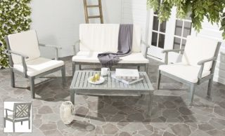 Mendoza Outdoor 4-Piece Living Set - Ash Grey