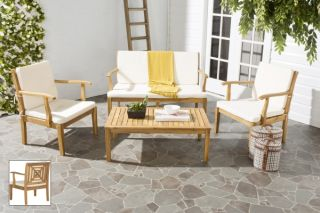 Lugano Outdoor 4-Piece Living Set - Teak Brown