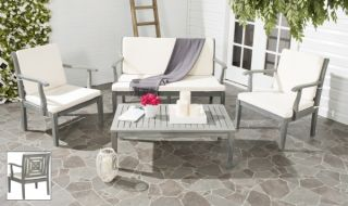 Lugano Outdoor 4-Piece Living Set - Ash Grey