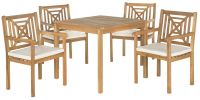 Riva Outdoor 5-Piece Dining Set - Teak Brown