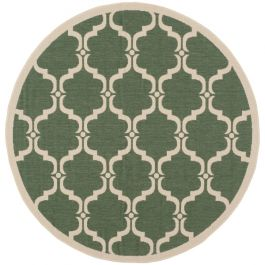 Lugano Multipurpose Indoor/Outdoor Rug, 152 X 152 cm - Dark Green & Beige
