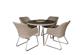 Four Seater San Pedro Round Dining Set with Lazy Susan - 106cm