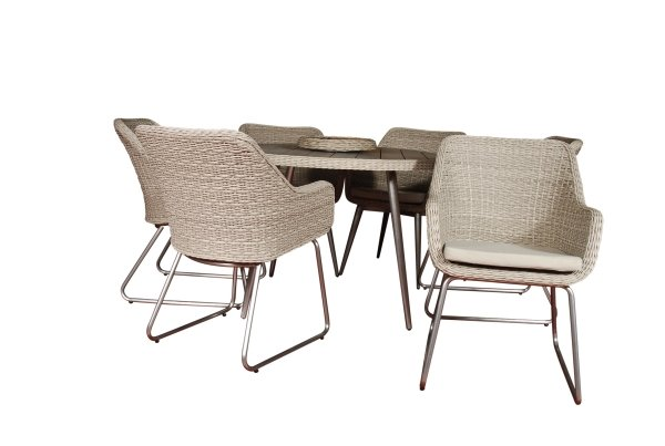 Six Seater San Pedro Round Table Dining Set with Lazy Susan - 140cm