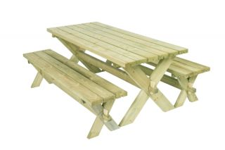 6 seater Retro Picnic Table and Bench Dining Set