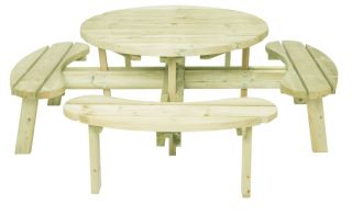 8 Seater Round Picnic Table Dining Set