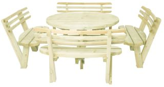 8 Seater Round Picnic Table Dining Set with Luxury Seats