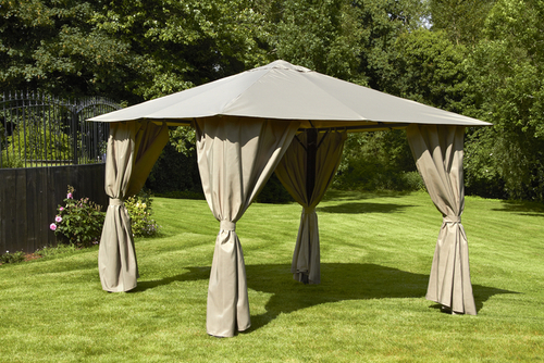 Venice Heavy Duty Square Gazebo 3 x 3m in Mocha
