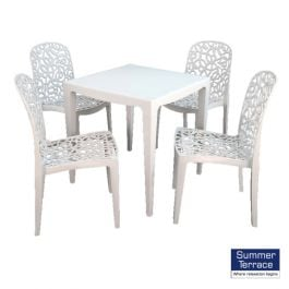 Master Dining Table with 4 Fleura Chairs in White