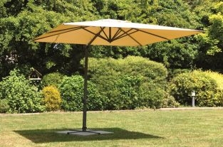 Cantilever 2.6 x 2.6m Rectangular Crank & Tilt Parasol in Beige/Anthracite with Cross Base