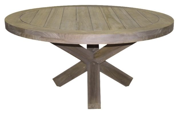 Designer teak riva 130cm round garden table for Round table 99 rosenheim