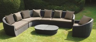 Ravello Designer Weave Rattan Curved Corner Garden Lounging Suite Large in Black