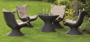 Keira Designer Weave 4 Seater Rattan Garden Set in Black